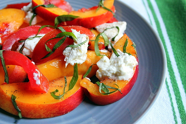 Summer Salad: Tomatoes, Peaches, Basil, and Burrata