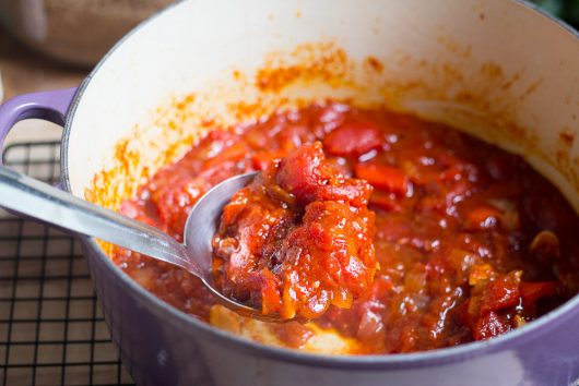 ketchup finished sauce with ladle 7-14-16 jpg