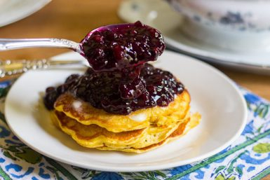Chickpea Pancakes with Wild Blueberry Sauce (GF)