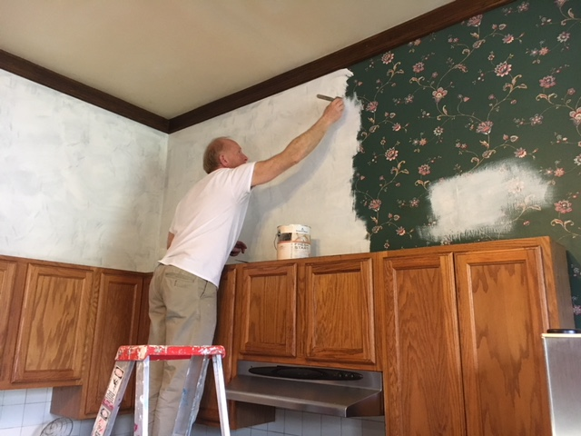 Kitchen Project: Painting Over Wallpaper