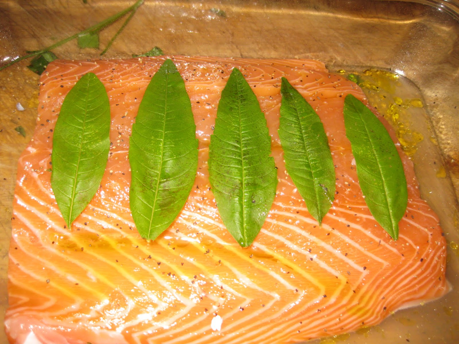 Salmon, Oven-Steamed in Lemon Verbena & Pinot Grigio