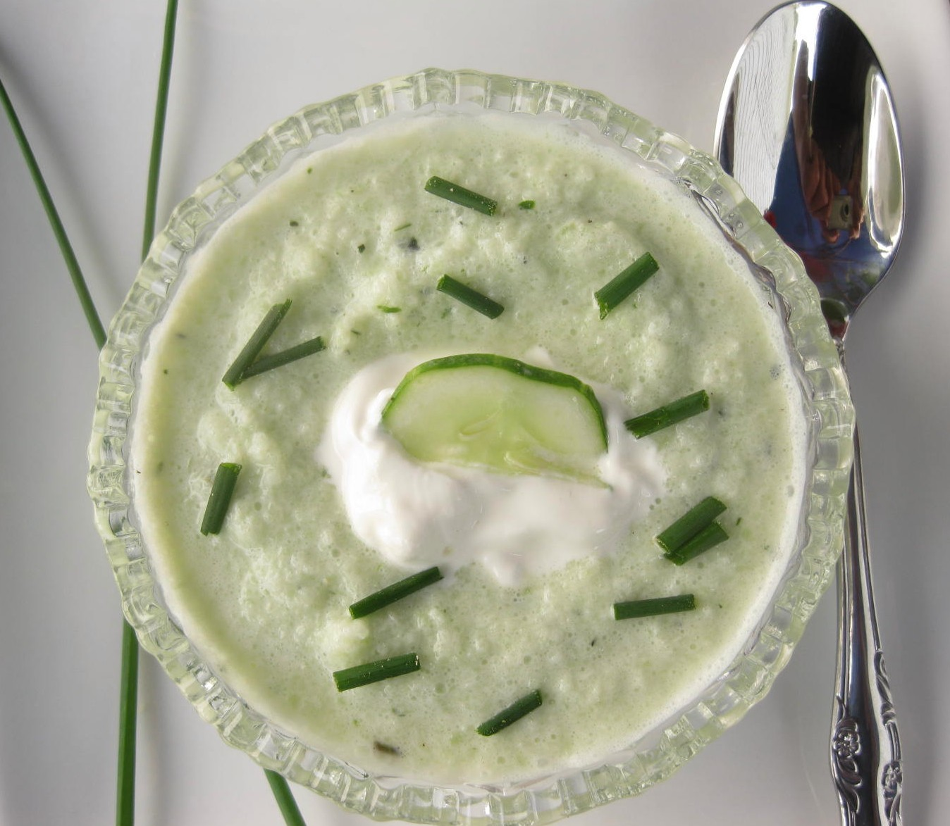 Refreshing Cucumber & Chive Soup