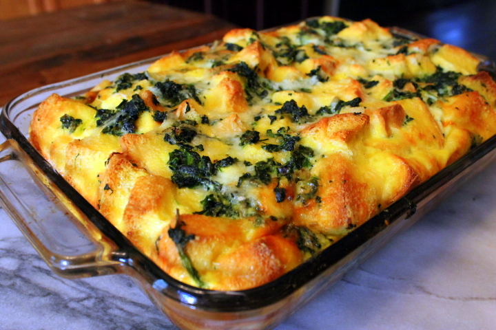 Make-Ahead Spinach & Cheese Strata