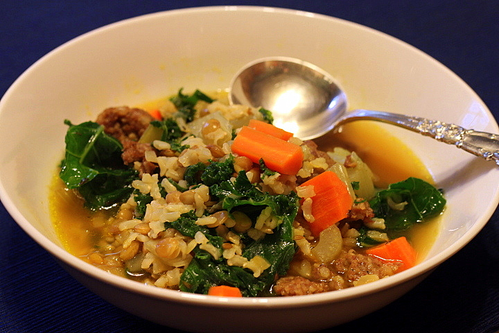 Brown Rice, Lentil, and Kale Soup