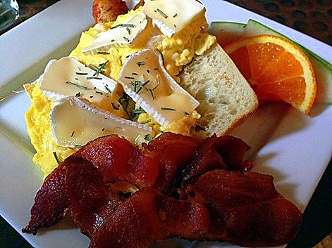 scrambled eggs, brie, rosemary