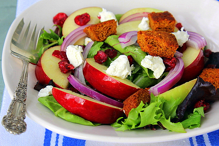 Apple Salad with Pumpkin Bread Croutons