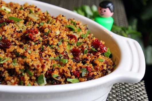 Quinoa Stuffing with Leeks, Sage, and Sun Dried Tomatoes
