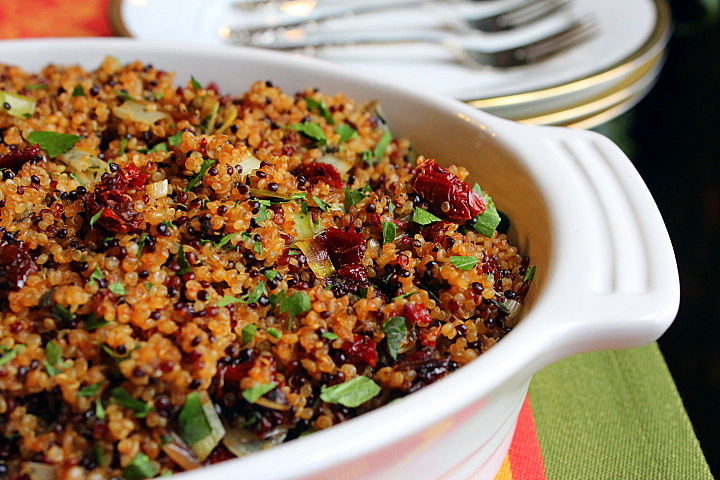 Quinoa Stuffing with Leeks, Sage, and Sun Dried Tomatoes (GF)