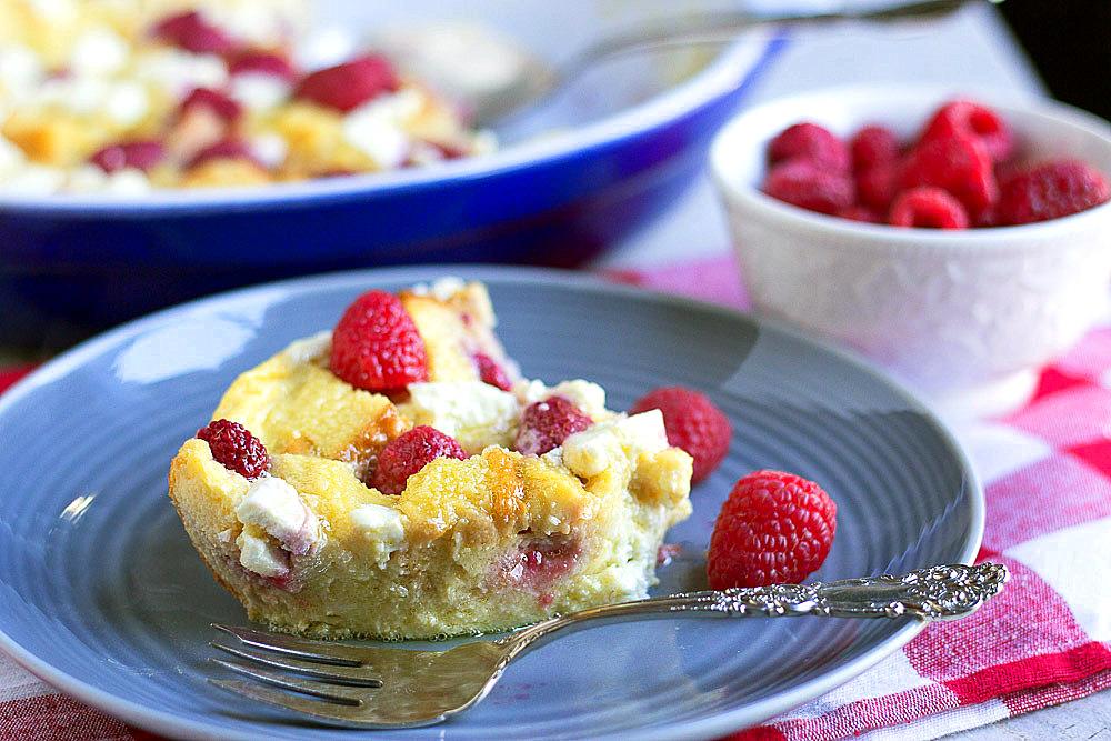 Make-Ahead Raspberry and Goat Cheese Strata