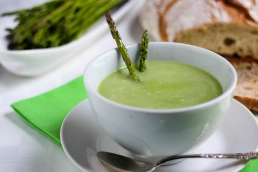 Asparagus Soup with Crème Fraîche and Lemon