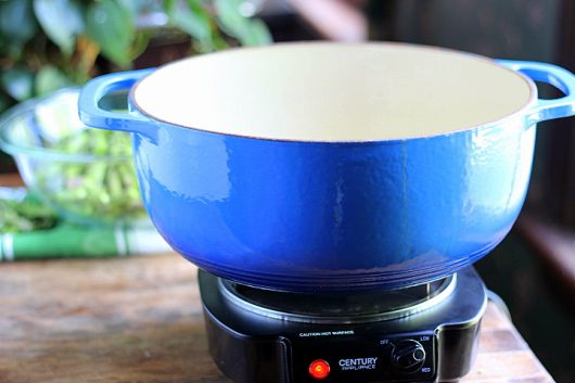 blue pot on elec burner