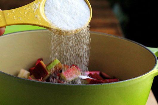 rhubarb sauce adding sugar picassa