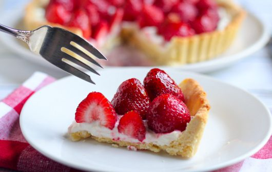 glazed strawberry tart cut piece fork 6-11-16 jpg