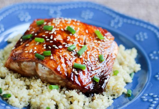 honey-tofu salmon on quinoa picassa