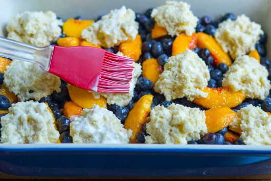 blueberry peach cobbler brush dough with cream 7-29-16