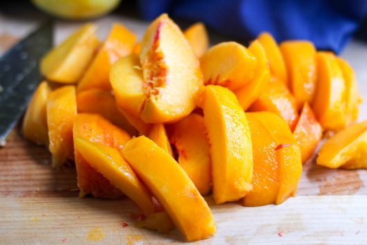 blueberry peach cobbler slice peaches 7-29-16