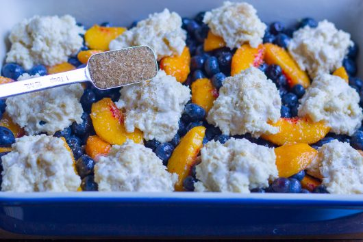 blueberry peach cobbler sprinkle lightly with demerara 7-29-16