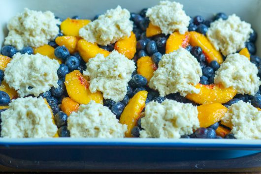 blueberry peach cobbler top with clumps of dough 7-29-16