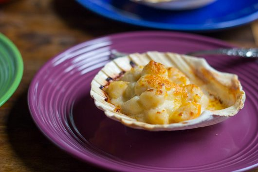 Coquilles St. Jacques - on purple plate