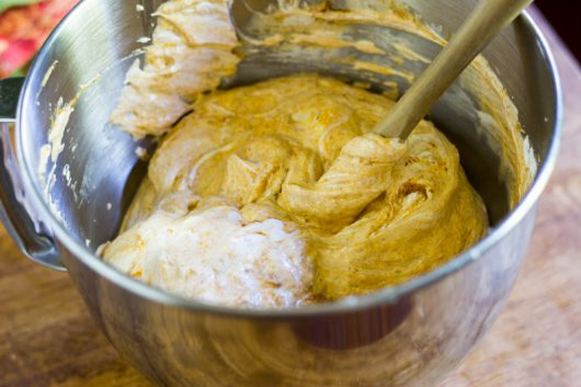 the folded Pumpkin Pumpkin Soufflé batter