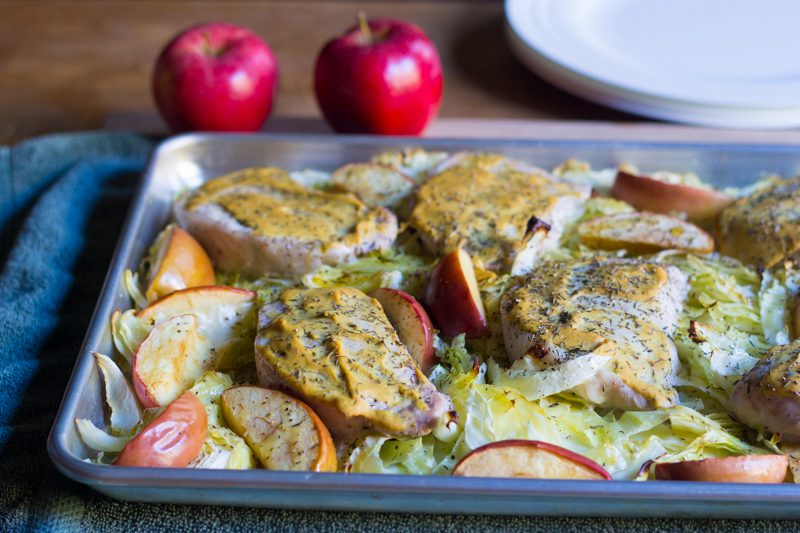Dijon Pork Chops with Cabbage and Apples