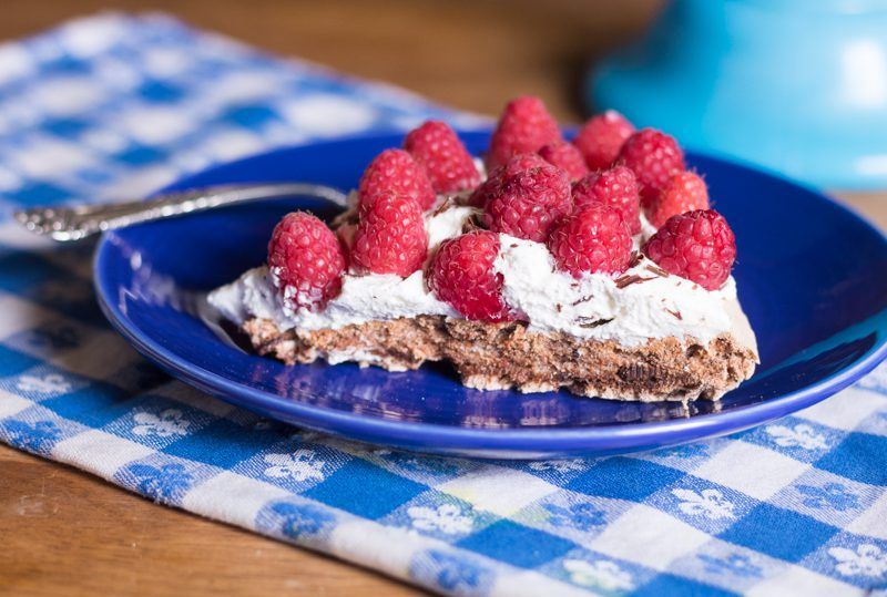 Chocolate Pavlova with Raspberries (GF)