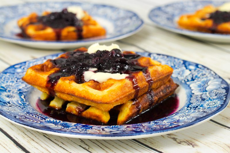 Crispy Waffles with Blueberry Sauce