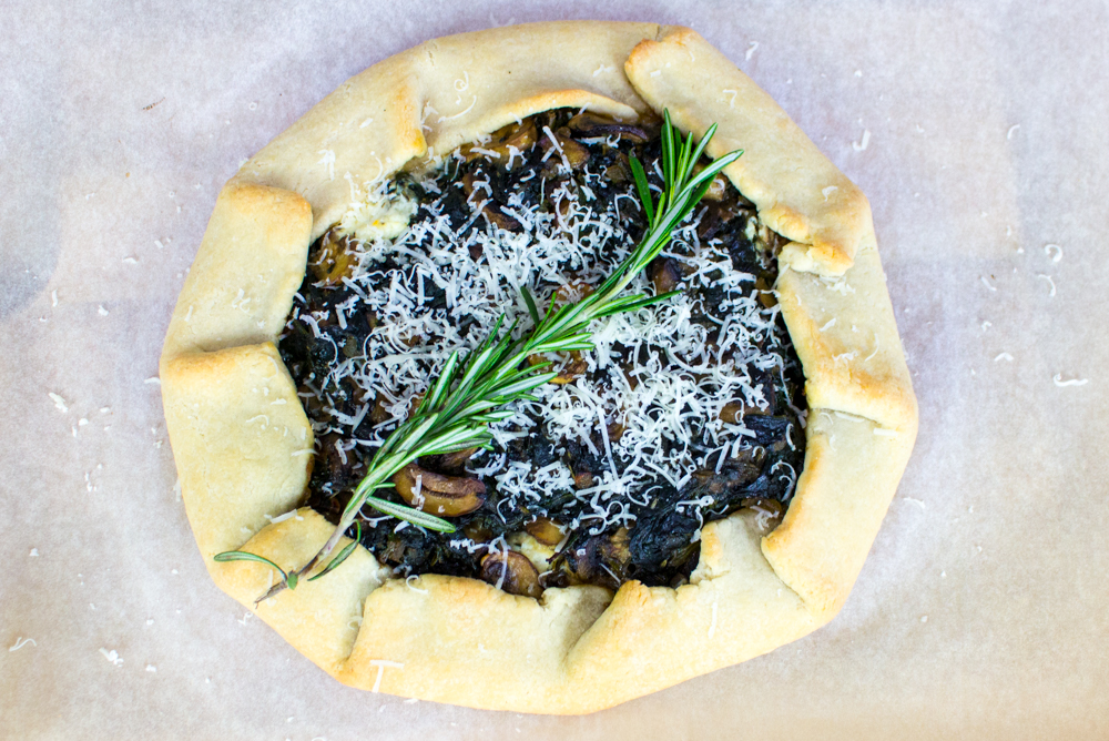 Mushroom, Spinach and Rosemary Galette