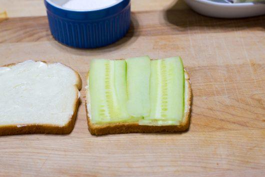 add the cucumber strips