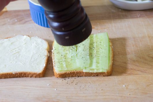 cucumber and mint sandwich: season the cucumber with salt and pepper