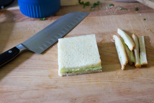 cut off crusts for cucumber and mint sandwich