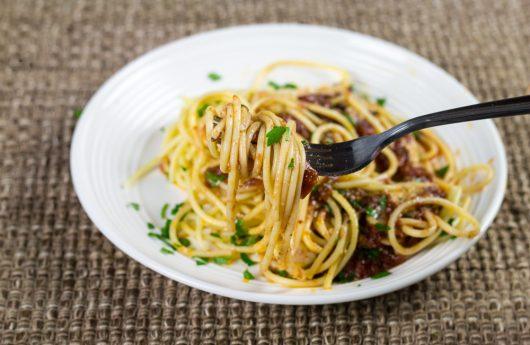 spaghetti twirled on a fork