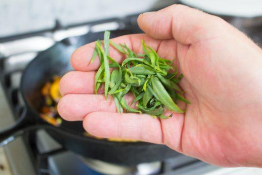 add the tarragon leaves for Skillet Steak Dinner Recipe