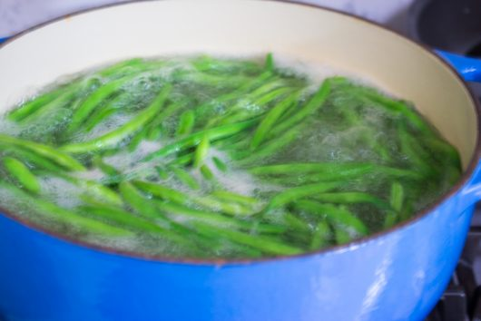 blanching the beans for Green Beans Gremolata