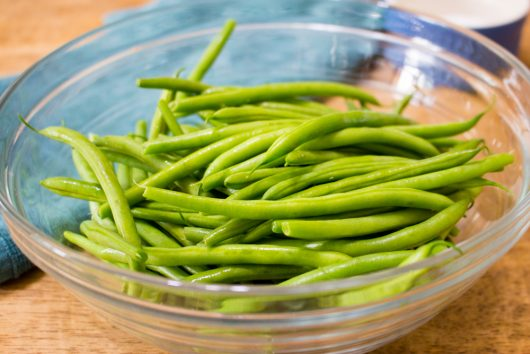 the trimmed, French beans