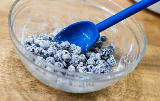 blueberries tossed with flour