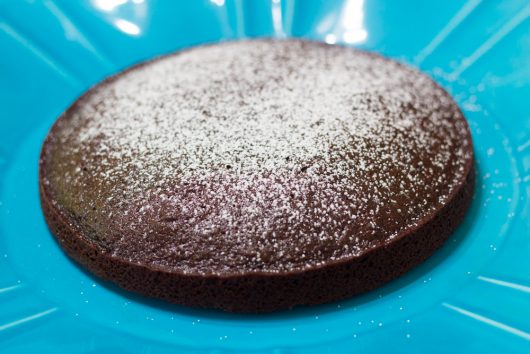 Helene's Crazy Chocolate Cake -- dusted with confectioners' sugar