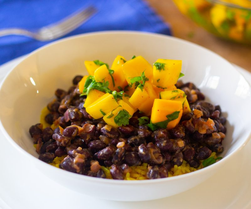 Black Beans with Mango Salsa and Yellow Rice