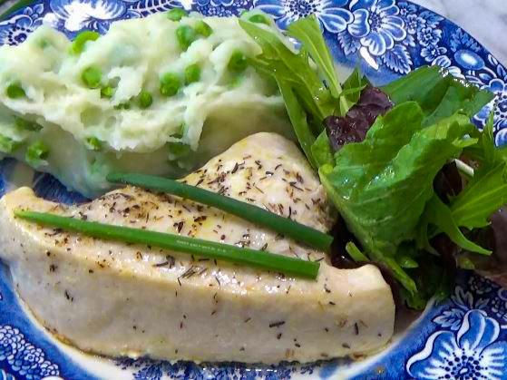 Baked Swordfish with Cheatin' Mashed Potatoes