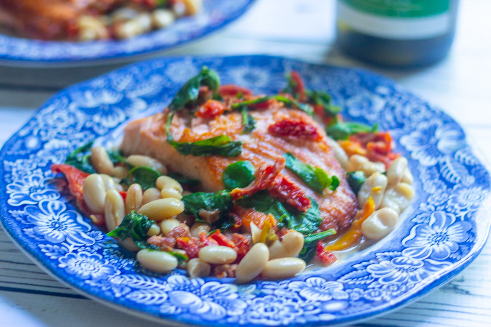 Tuscan Salmon Skillet Dinner