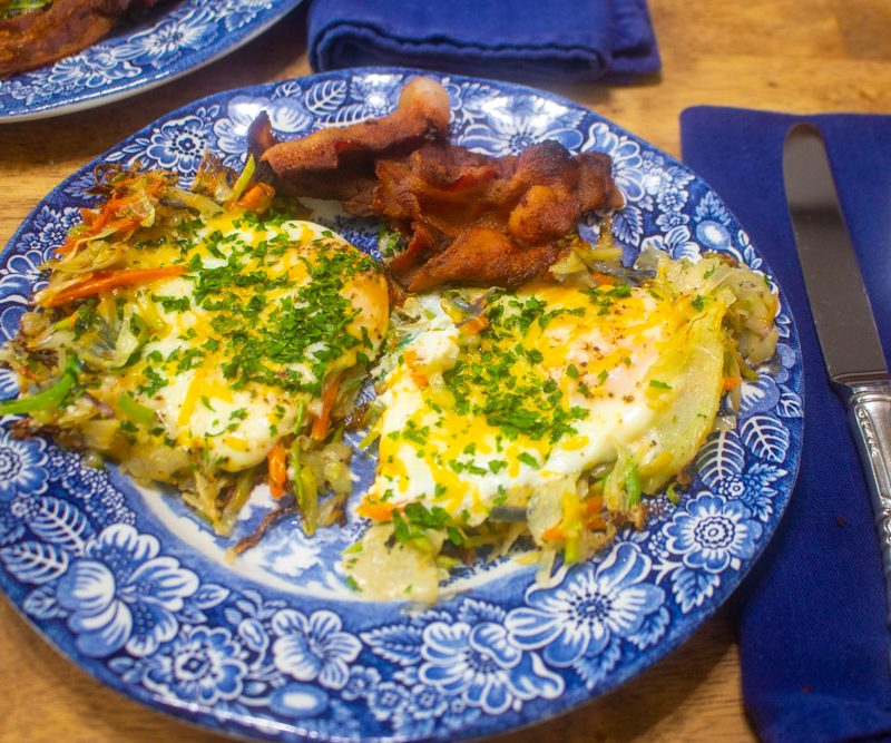 Skillet Dinner: Bacon, Eggs, and Coleslaw