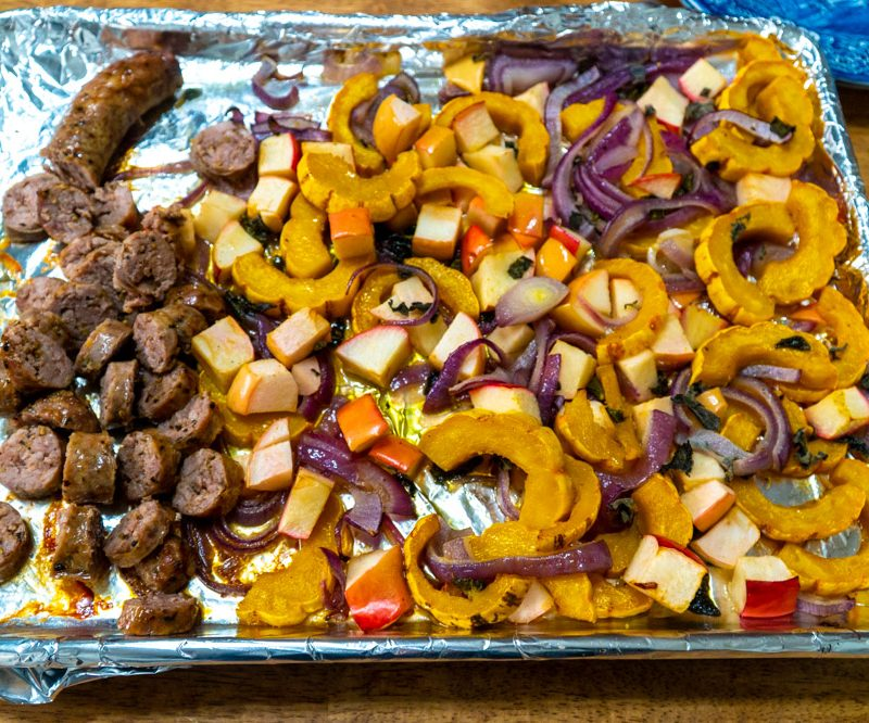 Sheet Pan Dinner with Delicata Squash, Apple, and Sausage